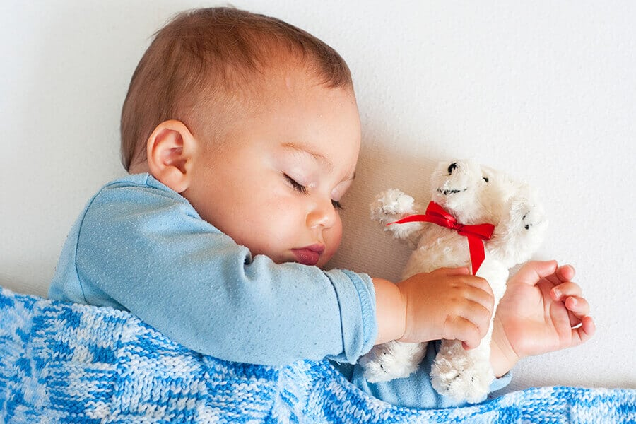 Sleeping baby boy with cuddly toy